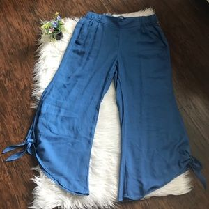 Rewash Blue Chambray Wide Leg Tied Pants